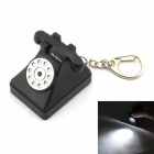 Klassiker Telefon Key Ring w / White Light & amp; Musik - Schwarz + Silber + Multi-Color (3 x AG10)