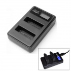 Fat Cat Smart Dual-Slot USB Hi-speed Fast Charger w/ LCD Screen for GoPro Hero 4 - Black + Silver