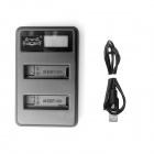 Fat Cat Smart USB Hi-speed Fast Charger for GoPro Hero4 - Black+Silver
