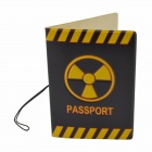 Danger Mark Pattern PU Passport Holder Case Cover - Black + Yellow