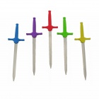 Colorful Sword Style Stainless Steel Fruit Fork Set - Silver + Multi-Color