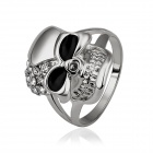 Women's Stylish Skull Pattern Rhinestone-studded Finger Ring - Silver (US Size 8)