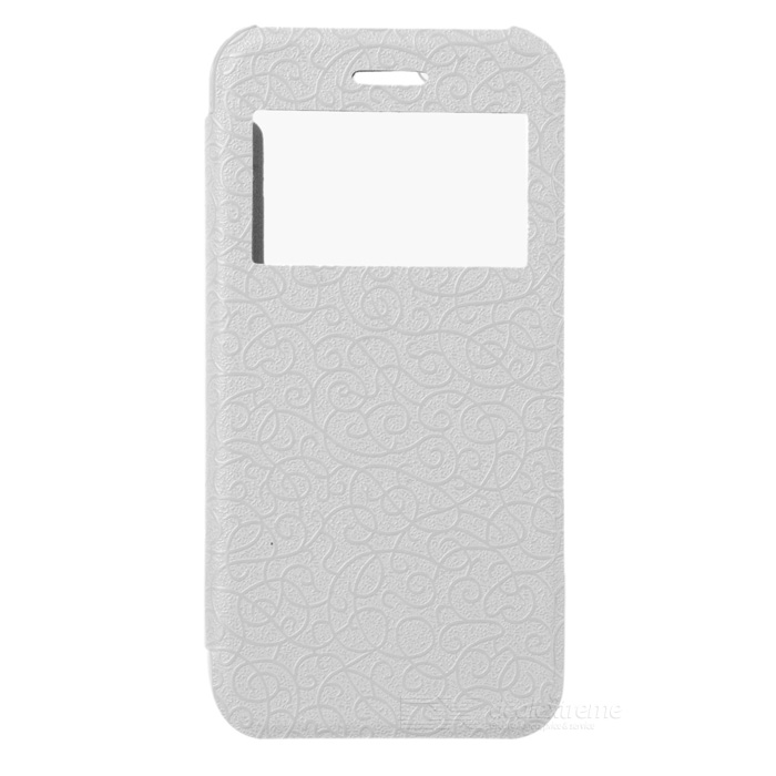 Protector PU flip-open + Funda para PC IPHONE 6 - blanco + transparente