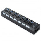 5.0Gbps 7-Port USB 3.0 HUB w/ Individual Switch + EU Plug AC Power Adapter Set - Black