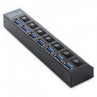 5Gbps 7-Port USB 3.0 HUB w/ Individual Switch + EU Plug Adapter -Black