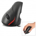 5D Ergonomic Design Wired USB 2.0 1600dpi LED Optical Vertical Mouse - Black
