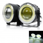 exLED 16W COB LED Car Fog Light Daytime Running Lamp White 6500K 1300lm - Black (12~24V / 2 PCS)