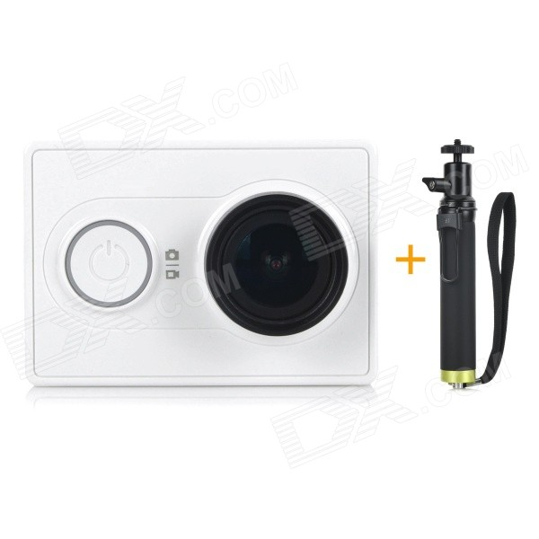 Xiaomi Xiaoyi 1080P 16MP Sports Camera w/ Monopod - White (Travel Kit)Sport Cameras<br>Form  ColorWhite (Travel Kit)ModelXiaoyiShade Of ColorWhiteMaterialPC + ABSQuantity1 pieceImage SensorCMOSImage Sensor Size2/3 inchesAnti-ShakeYesFocal Distance2.73+/-5% mmFocusing RangeN/AApertureF2.8Wide Angle155 degreesEffective Pixels16.0MPImagesJPEGStill Image Resolution4608 x 3456VideoOthers,MP4Video Resolution4608 x 3456Video Frame RateOthers,1080P 60fps / 1080P 48fps / 1080P 30fps / 1080P 24fps / 960P 60fps / 960P 48fps / 720P 120fps / 720P 60fps / 720P 48fps / 480P 240fpsCycle RecordYesISONoExposure CompensationNoSupports Card TypeOthers,Micro SDSupports Max. Capacity64 GBBuilt-in Memory / RAMNoOutput InterfaceMicro USBLCD ScreenNoBattery Measured Capacity 990 mAhNominal Capacity1020 mAhBattery TypeLi-ion batteryBattery included or notYesVoltage5 VBattery Charging Time3~4 hoursLow Battery AlertsYesWater ResistantOthers,40mSupported LanguagesSimplified ChineseOther FeaturesWi-Fi / Bluetooth 4.0Packing List1 x Sport camera1 x Monopod (22cm)1 x 1020mAh battery 1 x Charging cable (20cm)1 x Chinese user manual<br>