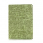 Alligator Skin Pattern Protective PU Case w/ Stand / Card & Money Slots for IPAD AIR 2 - Green