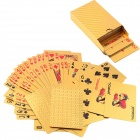 FY006 Gold Foil Plated Playing Cards Single Deck Poker Set w/ 2 Jokers - Golden