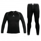 WOLFBIKE Men's Elastic Warm Long-sleeved Dacron Cycling Jersey + Long Pants Suit - Black (Size L)