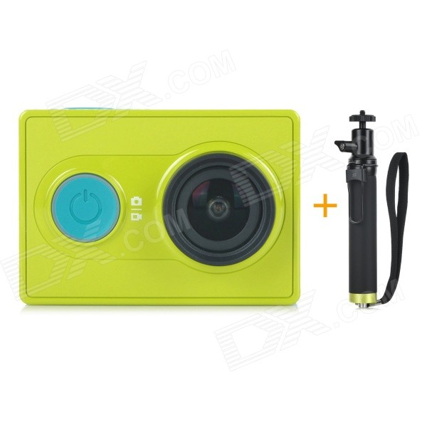 Xiaomi Xiaoyi 1080P 16MP Sports Camera w/ Monopod - Green (Travel Kit)Sport Cameras<br>Form  ColorGreen (Travel Kit)ModelXiaoyiShade Of ColorGreenMaterialPC + ABSQuantity1 pieceImage SensorCMOSImage Sensor Size2/3 inchesAnti-ShakeYesFocal Distance2.73 +/- 5% mmFocusing RangeN/AApertureF2.8Wide Angle155 degreesEffective Pixels16MPImagesJPEGStill Image Resolution4608 x 3456VideoOthers,MP4Video Resolution4608 x 3456Video Frame RateOthers,1080P 60fps / 1080P 48fps / 1080P 30fps / 1080P 24fps / 960P 60fps / 960P 48fps / 720P 120fps / 720P 60fps / 720P 48fps / 480P 240fpsCycle RecordYesISONoExposure CompensationNoSupports Card TypeOthers,Micro SDSupports Max. Capacity64 GBBuilt-in Memory / RAMNoOutput InterfaceMicro USBLCD ScreenNoBattery Measured Capacity 990 mAhNominal Capacity1020 mAhBattery TypeLi-ion batteryBattery included or notYesVoltage5 VBattery Charging Time3~4 hoursLow Battery AlertsYesWater ResistantOthers,40mSupported LanguagesSimplified ChineseOther FeaturesWi-Fi / Bluetooth V4.0Packing List1 x Sport camera1 x Monopod (22cm)1 x 1020mAh li-ion battery 1 x Charging data cable (20cm)1 x Chinese user manual<br>