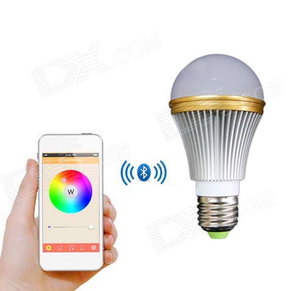 E27 7W Colorful Light Bluetooth Smart LED Lamp Bulb for IOS / AndroidSmart Lighting<br>Form  ColorWhite SilverColor BINMulti-colorModelN/AMaterialAluminum alloyQuantity1 DX.PCM.Model.AttributeModel.UnitPowerOthers,7WRated VoltageOthers,85~240 DX.PCM.Model.AttributeModel.UnitConnector TypeE27Emitter TypeLEDTotal Emitters1Actual Lumens20~150 DX.PCM.Model.AttributeModel.UnitColor Temperature3000KDimmableYesBeam Angle120 DX.PCM.Model.AttributeModel.UnitOther FeaturesImportant: This product only supports the IOS or Android 4.3 and the above versions;<br>Supports Bluetooth V4.0.Packing List1 x Bluetooth LED light bulb<br>
