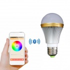 E27 7W Colorful Light Bluetooth Smart LED Lamp Bulb for IOS / Android - White + Silver (AC 85~240V)