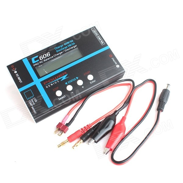 "C606 60W 2,6"" LCD PRO RC lipo LiIon batteri lader / discharger - svart"