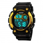 SKMEI Students' 50M Water-resistant Digital Sports Watch w/ Backlight - Black + Gold (1 x CR2025)