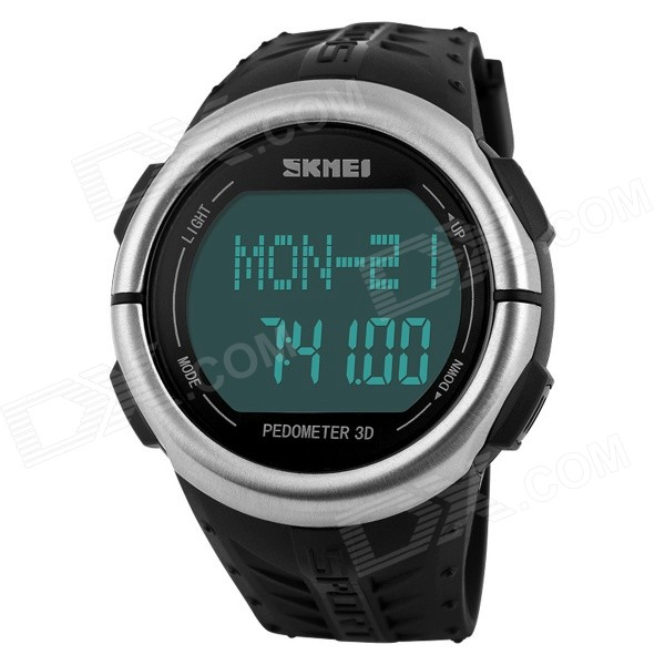 SKMEI Waterproof Pedometer / Heart Rate Test Wrist WatchSport Watches<br>Form  ColorBlack + SilverModel1058Quantity1 pieceMaterialStainless steel + PU + ABSBest UseMultisport,Cross-training,Running,Climbing,Camping,Cycling,Mountain Cycling,Recreational Cycling,Road Cycling,Triathlon,Bike commuting &amp; touringGenderUnisexScreen Size3.6 cmDisplay Format12/24 hour time formatPowered ByBuilt-in BatteryBattery Number1 x CR2032 (included)Battery included or notYesWater ResistantWater Resistant 5 ATM or 50 m. Suitable for swimming, white water rafting, non-snorkeling water related work, and fishing.BacklightBlueMovementDigitalCasing MaterialABSWristband MaterialPUWristband Length24 cmBand Width2 cmDial Diameter4.6 cmShade Of ColorBlackSuitable forAdultsStyleWrist WatchTypeSports watchesDisplayDigitalDial Thickness1 cmBattery1 * CR2032Packing List1 x Watch<br>