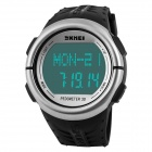 SKMEI 1058 Waterproof Outdoor Sports Pedometer / Heart Rate Test Wrist Watch - Black + Silver