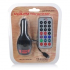 "S-What 1.5"" Car FM Transmitter USB 2.0 Remote Controller - Black"