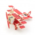 Robotime P250S Baron Solar Powered 3-Wing DIY Assembly Plane Aircraft Toy - Red + White