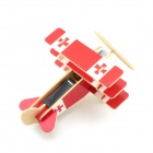 Robotime P250S Solar Powered 3-Wing Assembly Plane Aircraft Toy - Red