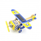 Robotime P210S Squab Solar Powered DIY Assembly Plane Aircraft Toy - Blue + Light Yellow