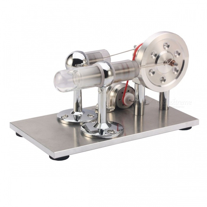 NEJE DIY Hot Air Stirling Engine Motor Model Toy - Silver + Red
