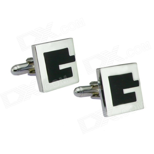 Men's G Letter Electroplating Cuff Links Buttons Cufflinks - Silver