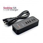 Soshine 6A 5-Port USB-EU-Stecker Power Charger für iPhone + Android-Geräte - Schwarz