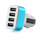 Smart Quick Charging 4-USB Car Charger Adapter - White + Light Blue