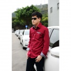 Men's Slim Stylish Plaid Collar Long-sleeved Cotton Shirt - Wine Red (Size L)