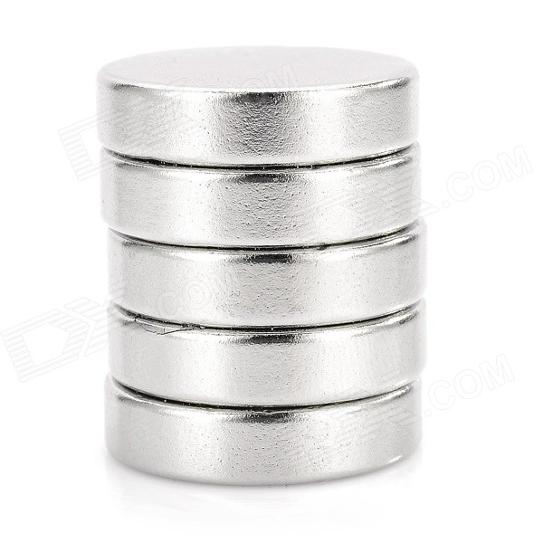 NdFeB N35 Round Magnets - Silver (20*5 mm / 5PCS)