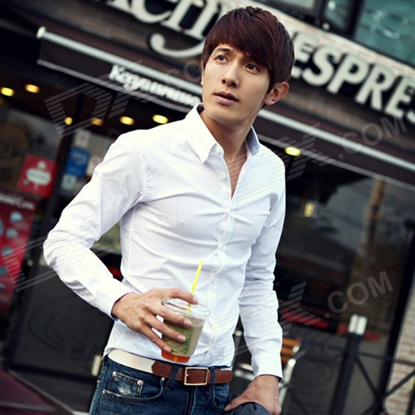 6492 Men's Long-sleeved Cotton Business Shirt - White (Size L)