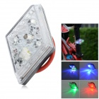 WH-22 5-LED 7-Mode Red + Multi-Color Light Bike Tail Light w/ Clip - White + Black (2 x CR2032)