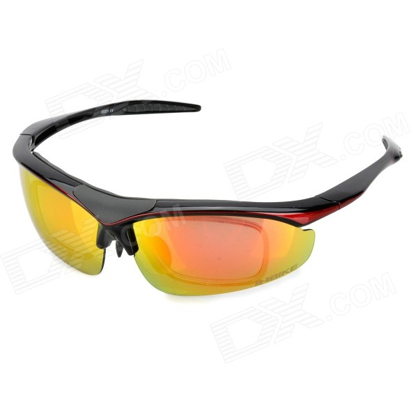 INBIKE IG001 Outdoor Cycling Windproof Red REVO Polarized Goggles w/ Replacement Lenses - Black