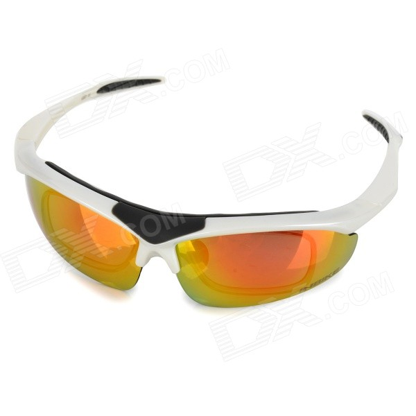 INBIKE IG001 Red REVO Polarized Goggles w/ Replacement Lenses - White