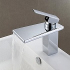Contemporary Brass Chrome Finish One Hole Single Handle Waterfall Bathroom Sink Faucet - Silver