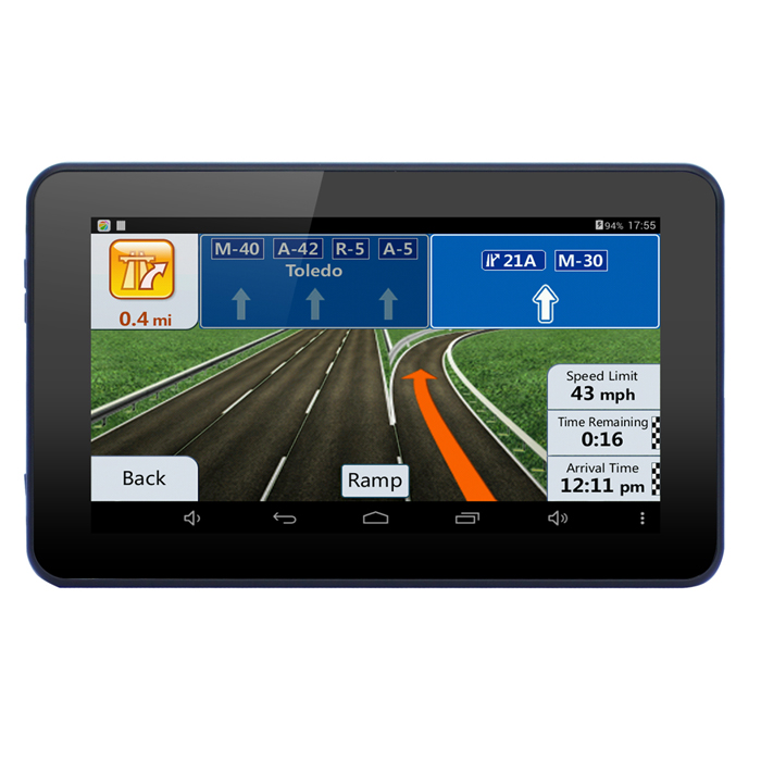 "7"" 720P Android 4.4 Car GPS Tablet PC DVR WiFi 16GB / EU Map - Black"