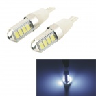 CARKING T10 2W 12-LED 6000K 60lm White Car Lamppu (2PCS / 12V)