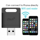Zsun Wi-Fi USB 2.0 Card Reader for Tablet PC / IPAD / IPHONE / Android Mobile Phone - Black