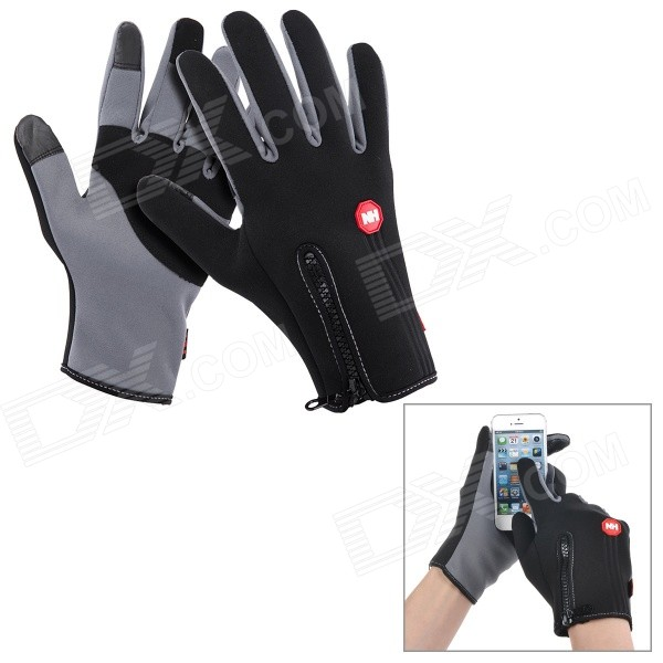 NatureHike Full-Finger Touch Screen Cycling Gloves - Grey + Black (M)