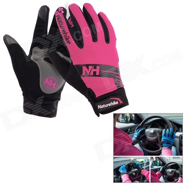 NatureHike Anti-Slip Windproof Warm Full-Finger Touch Screen Cycling Gloves - Deep Pink + Black (M)