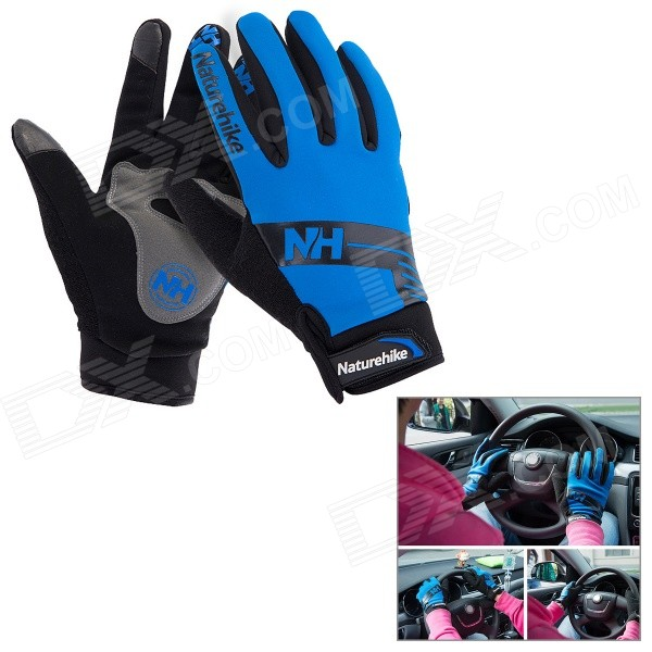 NatureHike Full-Finger Touch Screen Cycling Gloves - Blue + Black (L)