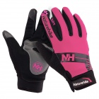 NatureHike Anti-Slip Windproof Warm Full-Finger Touch Screen Cycling Gloves - Deep Pink + Black (L)