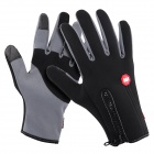 NatureHike Anti-Slip Wind-Resistant Warm Full-Finger Touch Screen Cycling Gloves - Grey + Black (L)