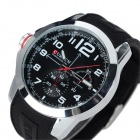 CURREN 8182A Men's Silicone Band Analog Quartz Watch - Black + Silver