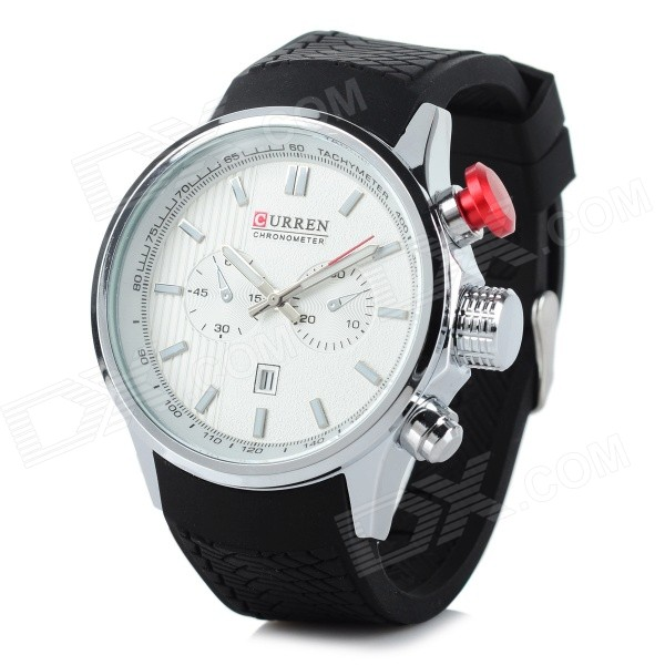 CURREN 8175 Men's 2 Decorative Dial Calendar Quartz Watch - White