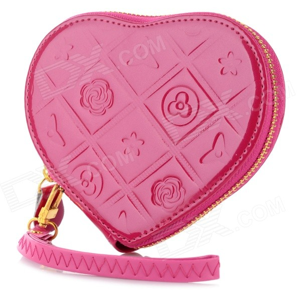 LX-03041 Heart-Shaped Pocket Purse - Deep Pink (13.5*11.5*2.5cm)