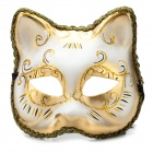 ML-198644 Universal Cat Face Style Party Stage Performance Mask - Gold + White