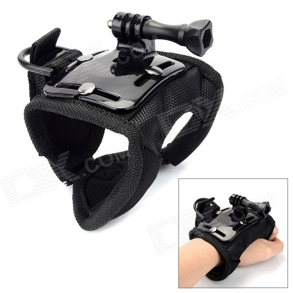Glove Style Handband Holder for GoPro Hero 4 / 3+ / 3 / 2 / 1 - Black